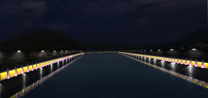 承德柳河景观带夜景河道夜景效果图